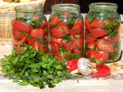 Узнай рецепт помидоров дольками с чесноком,